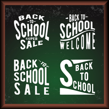 special education: Green chalkboard with text Back to school. Vector illustration. Illustration
