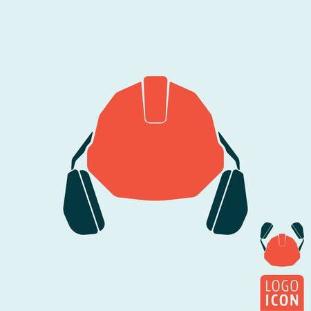 personal protective equipment: Helmet with headphones icon. Personal protective equipment symbol. Vector illustration