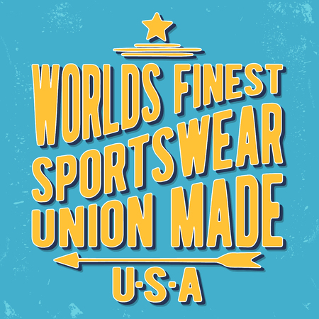 casual wear: T-shirt print design. Sportswear vintage stamp. Printing and badge applique label t-shirts, jeans, casual wear. Vector illustration.