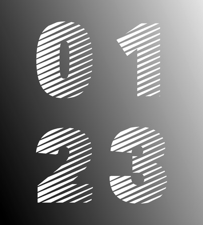 2 0: Typographic broken alphabet font template. Set of numbers 0, 1, 2, 3 logo or icon. Vector illustration.