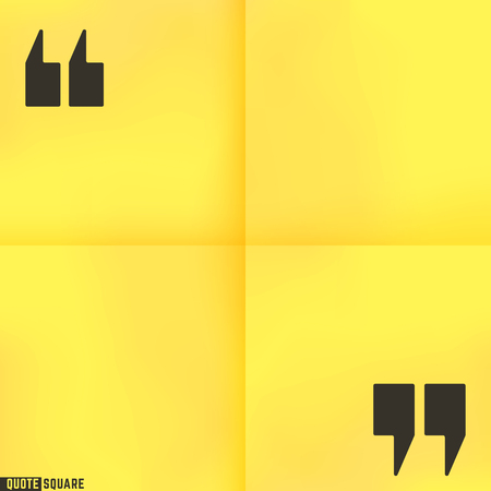 cite: Blank quote square. Text box template. Yellow stick note design. Vector illustration.