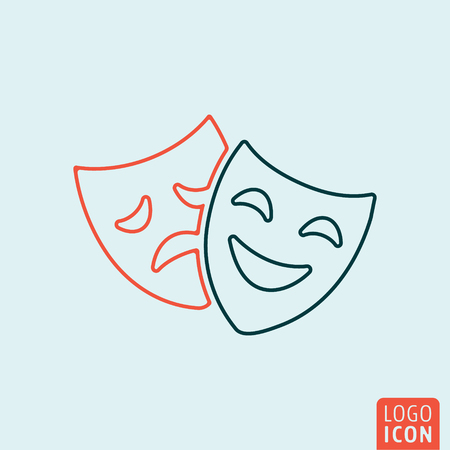 tragedy mask: Comedy and tragedy mask icon. Theatre drama symbol. Vector illustration