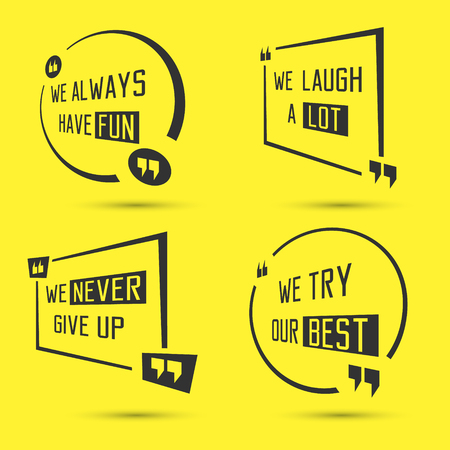 cite: Set of quote motivational square template. Inspirational quotes box and bubble. Vector illustration. Illustration