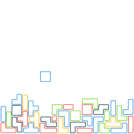 old square: Old video game square template. Colored line brick game pieces on white background. Vector illustration.
