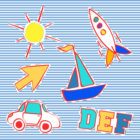 T-shirt print design. Patch fashion, vintage stamp. Printing and badge applique label t-shirts, jeans, casual wear. Arrow yacht rocket car and sun. Vector illustration.