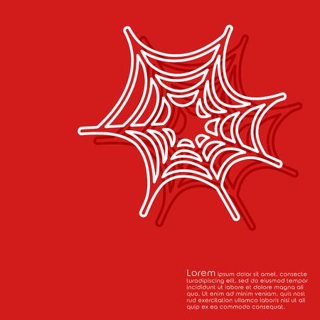 Line halloween cobweb on red background. Cover brochures, flyer, card design template. Vector illustration