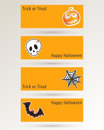 cobweb: Halloween pumpkin, skull, cobweb and bat. Website spooky banner or header template. Vector illustration.
