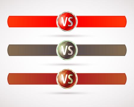 Set of versus. VS letters. Fight competition symbol. Vector illustration.