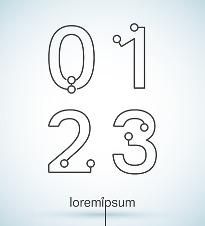 2 0: Connection dots font. Set of numbers 0, 1, 2, 3 logo or icon vector design Illustration