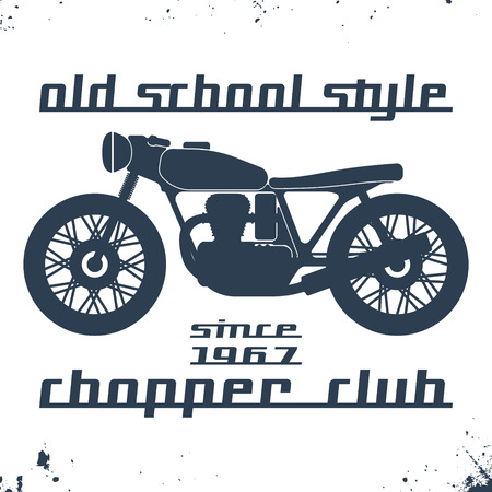 casual wear: T-shirt print design. Vintage motorcycle stamp. Printing and badge applique label t-shirts, jeans, casual wear. Vector illustration. Illustration
