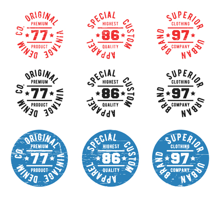 casual wear: Set of color vintage circle stamp. T-shirt print design. Printing and badge applique label t-shirts, jeans, casual wear. Vector illustration. Illustration