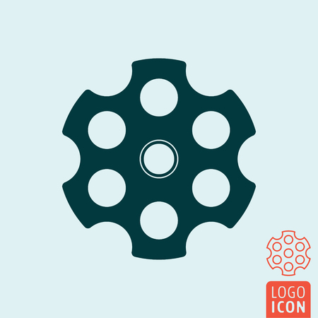 Revolver cylinder icon. Cylindrical rotating part of a revolver with six chambers. Vector illustration Illustration