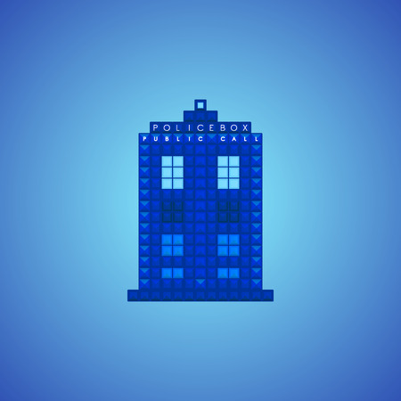 doctor who: British police public call box. Old video game design. Vector illustration.