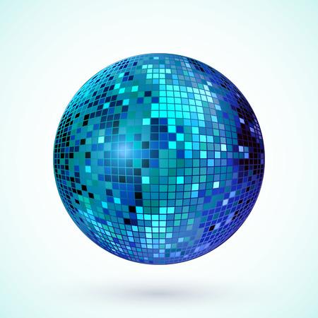 Icono de la bola de discoteca. Colorido de la bola de espejo del disco aislado. elemento de diseño para el partido folleto, cartel o folletos. Ilustración del vector.