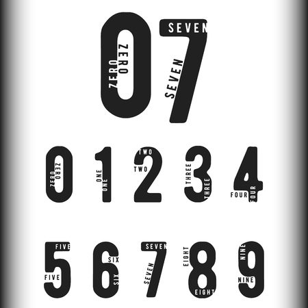 7 8: Set of numbers with names. Number 0 1 2 3 4 5 6 7 8 9 for logo or icon. Vector illustration. Illustration