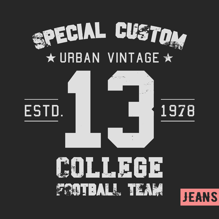 casual wear: T-shirt print design. College team vintage stamp. Printing and badge applique label t-shirts, jeans, casual wear. Vector illustration.