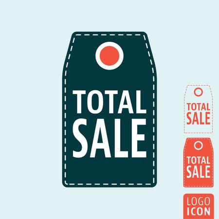 total: Total sale icon. Promotional sale label symbol. Vector illustration