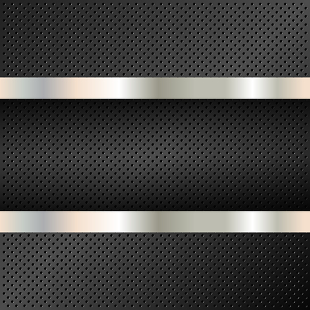 Technology background with perforated circles. Cell metal backdrop with banner. Vector illustration