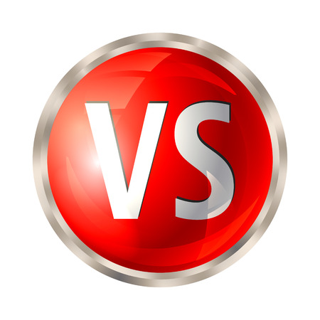 VS letters button. Versus logo isolated on white background. Fight competition symbol. Vector illustration.