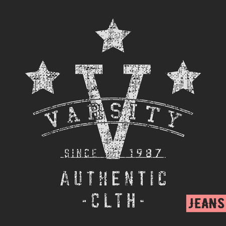 T-shirt print design. Varsity stars vintage stamp. Printing and badge applique label t-shirts, jeans, casual wear. Vector illustration. Иллюстрация
