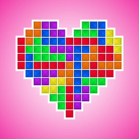 Mosaic heart, colored brick game pieces. Old video game design. Valentine day background. Design for cover, greeting card, gift wrapping, invitations printings, brochure or flyer. Vector illustration.