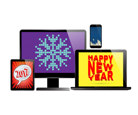 savers: New Year 2017. Monitor PC computer, laptop, smartphone and tablet with various screen savers. Vector illustration.