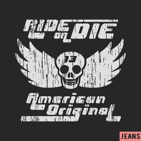 13: T-shirt print design. Skull with wings vintage stamp. Printing and badge applique label t-shirts, jeans, casual wear. Vector illustration.