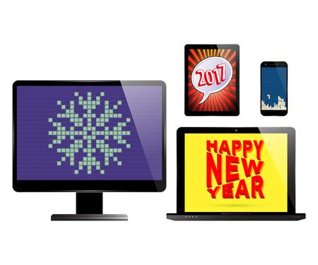 fiestas electronicas: Teléfono inteligente, ordenador monitor de PC, ordenador portátil y tablet con varios días de fiesta protectores de pantalla. Los dispositivos electrónicos aislados sobre fondo blanco.