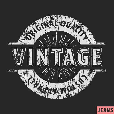 T-shirt print design. Custom apparel vintage stamp. Printing and badge applique label t-shirts, jeans, casual wear. Illustration