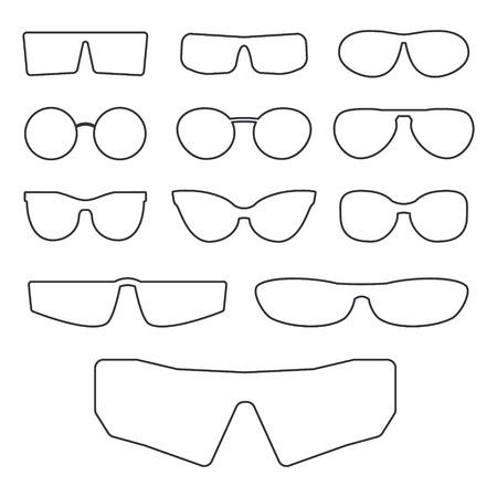 cat's eye glasses: Spectacle frame isolated on white background. Various design frames for sunglasses and eyeglasses.