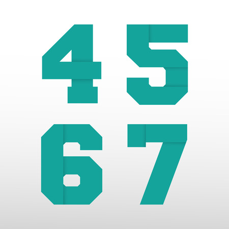 origami numbers: Number font template - origami paper design. Set of numbers 4, 5, 6, 7 logo or icon. Vector illustration Illustration