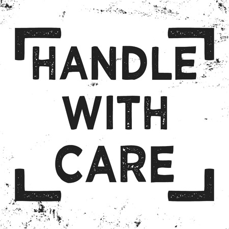 Handle with care stamp Illustration