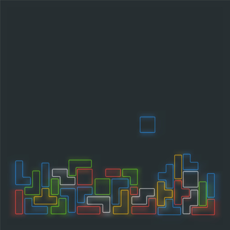 8bit: Old video game square template. Blurred colorful line brick games background. Vector illustration.