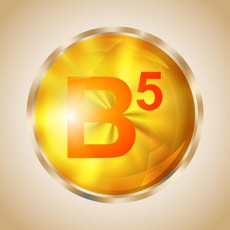 Vitamin B5 gold shining pill icon. Pantothenic acid capsule symbol. Vector illustration. Illustration