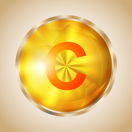 ascorbic: Vitamin C gold shining pill icon. Ascorbic acid capsule symbol. Vector illustration.