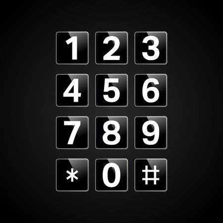 Clavier numérique avec numéros pour téléphone, interface utilisateur, panneau de commande de verrouillage de sécurité. Bouton de téléphone. Illustration vectorielle Vecteurs