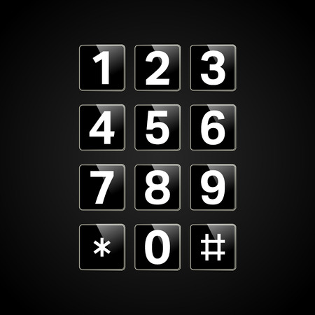 Digital keypad with numbers for phone, user interface, security lock control panel. Telephone button. Vector illustration.