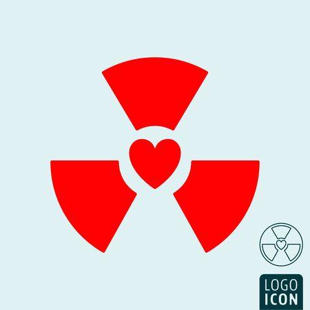 Radioactive heart icon. Radiation red heart symbol. Vector illustration