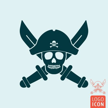 Skull pirate icon isolated Stock Photo