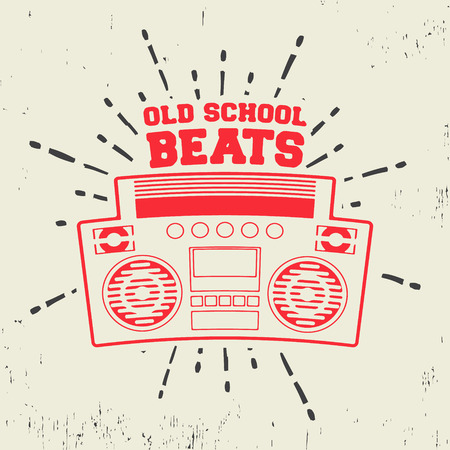 T-shirt print design. Old school beats vintage stamp. Printing and badge applique label t-shirts, jeans, casual wear. Vector illustration.