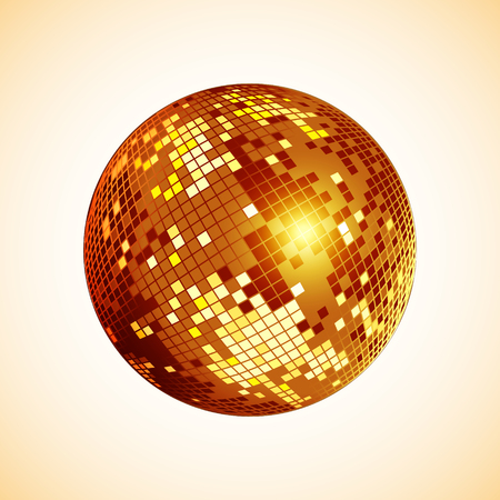 Disco ball icon. Golden disco mirror ball isolated. Design element for party flyer, poster or brochures. Vector illustration.