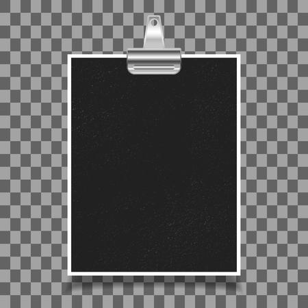 Photo frame with old binder clip on transparent background. Vector illustration.