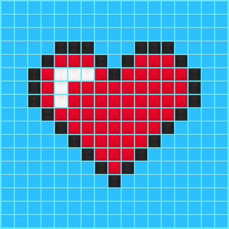 Mosaic heart old video game design. Valentine day background designed for cover, greeting card, gift wrapping, invitations printings, brochure or flyer. Vector illustration.