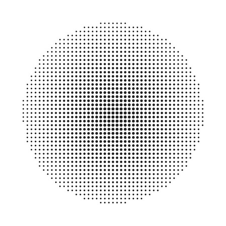 Circle halftone background. Halftone round dots stamp. Vector illustration.