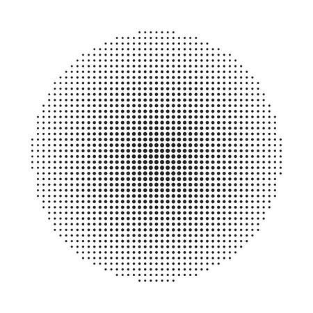 Circle halftone background. Halftone round dots stamp. Vector illustration.