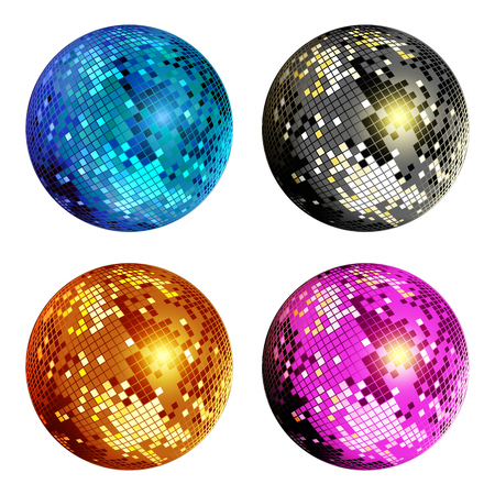 Set of colored disco ball isolated on white background. Colorful disco mirror ball isolated. Design element for party flyer, poster or brochures. Vector illustration.