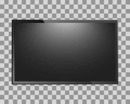 flat screen tv: Modern TV blank screen isolated on transparent background. Lcd, led display or computer monitor. Vector illustration. Illustration