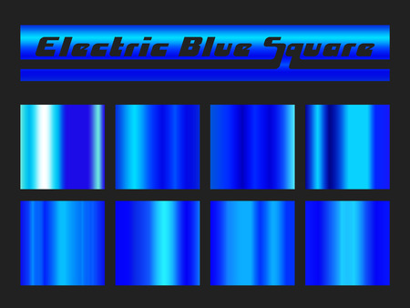 Blue gradient square set. Metallic texture background. Vector illustration.