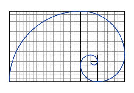 Gouden ratio grafiek - Fibonacci spiraal symbool. Vector illustratie.