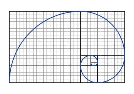 Grafico del rapporto aureo - simbolo a spirale di Fibonacci. Illustrazione vettoriale Archivio Fotografico - 79631794